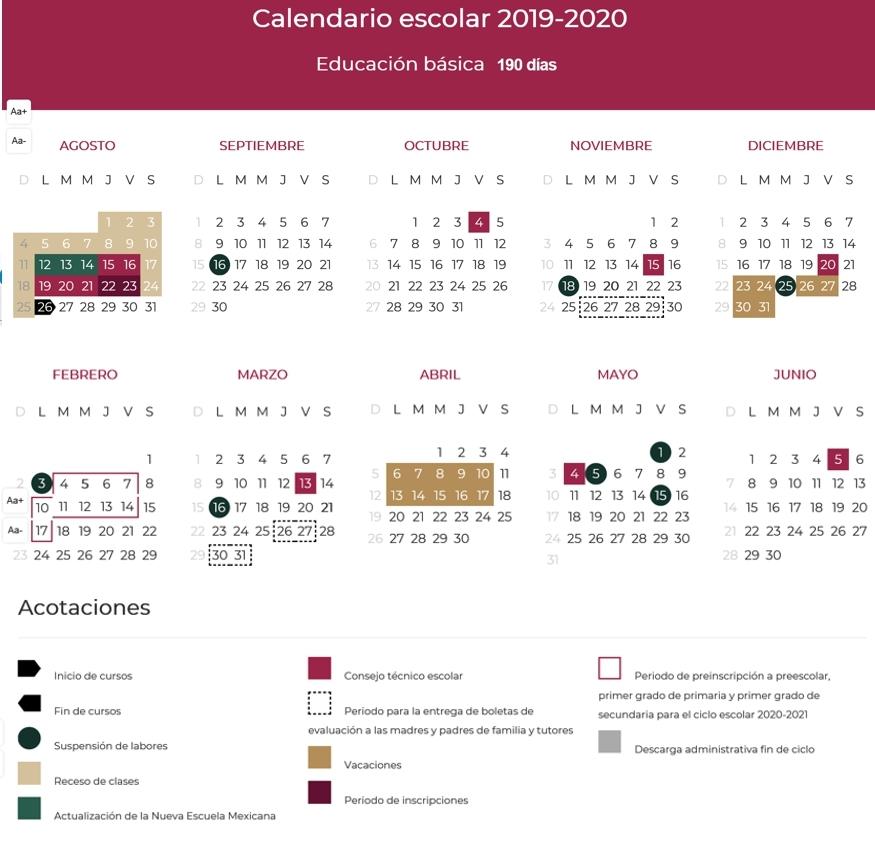 Calendario De Hacienda 2020.Conoce El Calendario Escolar 2019 2020 Notifax Online